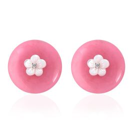 Carved Pink Jade, White Mother of Pearl and Natural White Cambodian Zircon Earrings (with Push Back)