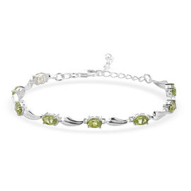 Peridot Bracelet (Size 6.5 with 2 inch Extender) with Lobster Clasp in Sterling Silver 3.92 Ct.