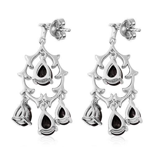 Elite Shungite (Pear) Chandelier Earrings in Rhodium Overlay Sterling Silver  2.75 Ct, Silver wt 6.39 Gms