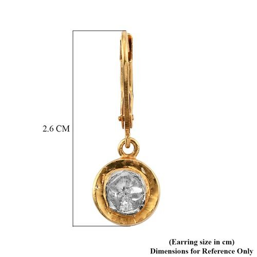 Artisan Crafted Polki Diamond Lever Backs Earring in 14K Gold Overlay Sterling Silver 0.46 Ct.