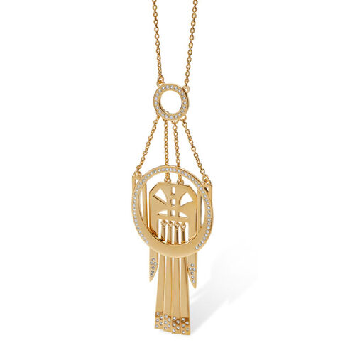 LucyQ White Crystal Studded Large Art Deco Necklace (Size 24) in 14K Gold Overlay Sterling Silver 19.80 Gms.