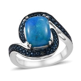 Natural Peruvian Peacock Opalina (Cush 10x8 mm), Blue Diamond Ring (Size R) in Platinum Overlay Sterling Silv