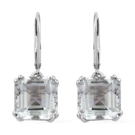 9.75 Ct Green Amethyst Solitaire Earrings in Platinum Plated Sterling Silver With Lever Back