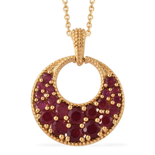 Designer Inspired-African Ruby (Rnd) Circle Pendant With Chain in 14K Gold Overlay Sterling Silver 3