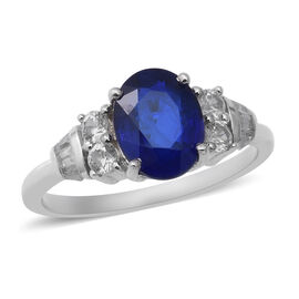 Tanzanian Blue Spinel and Cambodian Zircon Ring in Rhodium Overlay Sterling Silver 2.70 Ct.