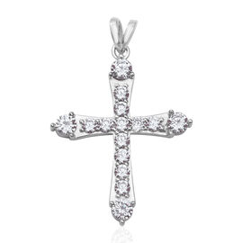 Simulated Diamond Cross Pendant in Rhodium Plated Sterling Silver 4.14 Grams