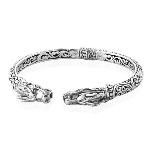 Royal Bali Collection Sterling Silver Dragon Head Cuff Bangle (Size 7.5), Silver Wt: 28.00 Gms