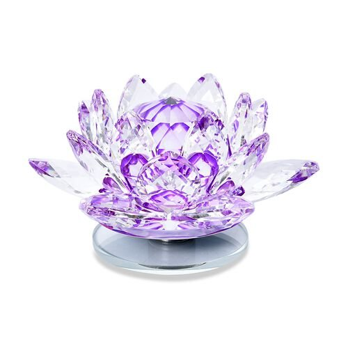 Home Decor - Crystal Lotus Flower with Rotating Base (Size 10x6 Cm) - Purple