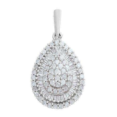 9K White Gold SGL Certified Diamond (Rnd) (I3/G-H) Cluster Pendant 1.000 Ct.
