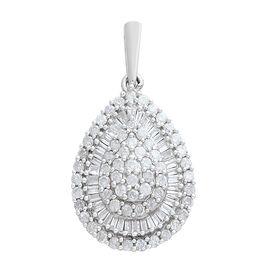 9K White Gold SGL Certified Diamond (Rnd and Bgt) (I3/G-H) Drop Pendant 1.000 Ct.