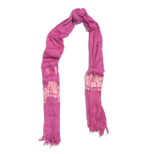 One Time Deal-100% Merino Wool Plum Rose Shawl with Cashmere Embroidery (Size 180X70 Cm)