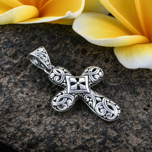 Royal Bali Collection Oxidised Sterling Silver Cross Pendant