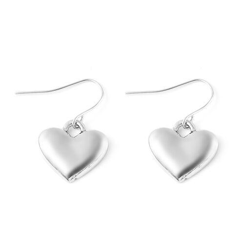2 Piece Set - White Austrian Crystal Enamelled Heart Charm Bracelet (Size 9) and Hook Earrings in Silver Tone