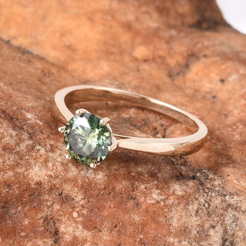 Collectors Edition- 9K Yellow Gold Green Moissanite Solitaire Ring 1.00 Ct.
