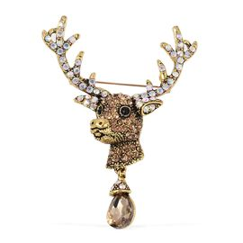 Simulated Champagne Diamond (Pear), Multicolour Austrain Crystal Deer Head Brooch in Gold Plated