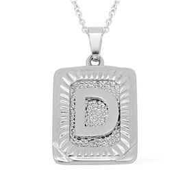 Initial D Pendant with Chain (Size 22) in Stainless Steel