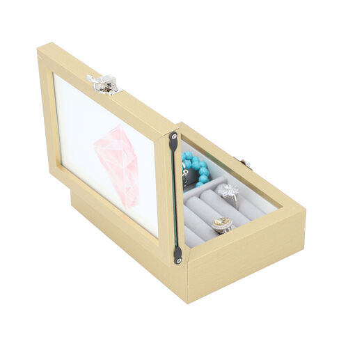Gold Colour Jewellery Box with Photo Frame on Top, Mirror Inside and Latch Clip (16x11.5x5.5cm)
