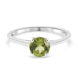 Natural Hebei Peridot Ring in Platinum Overlay Sterling Silver 1.00  Ct.