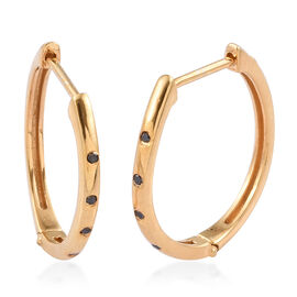 Black Diamond (Rnd) Hoop Earrings (with Clasp) in 14K Gold Overlay Sterling Silver 0.100 Ct.