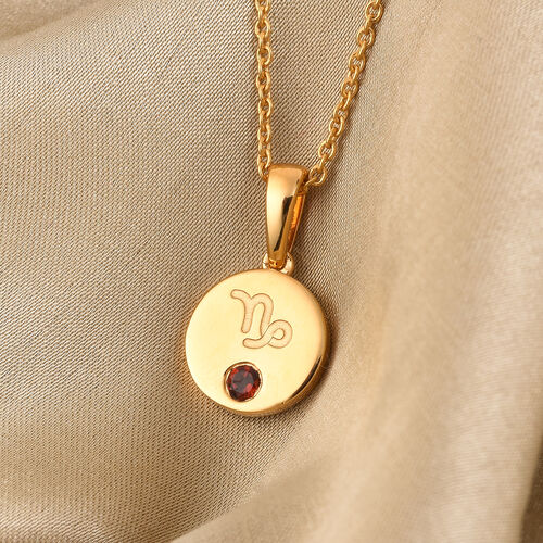 Personalise Engraved Mini Disc Zodiac Birthstone Necklace with Chain in Silver