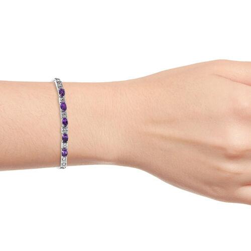 Amethyst (Ovl), White Topaz Adjustable Bracelet (Size 6.5 - 9) in Stainless Steel 2.500 Ct.