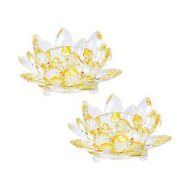 2 Piece Set  Crystal Waterlily Candle Holder  (Size 11x5 Cm) - Yellow