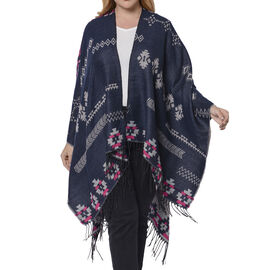 Tribal Pattern Kimono (Size 135x74+13cm) - Navy and Pink