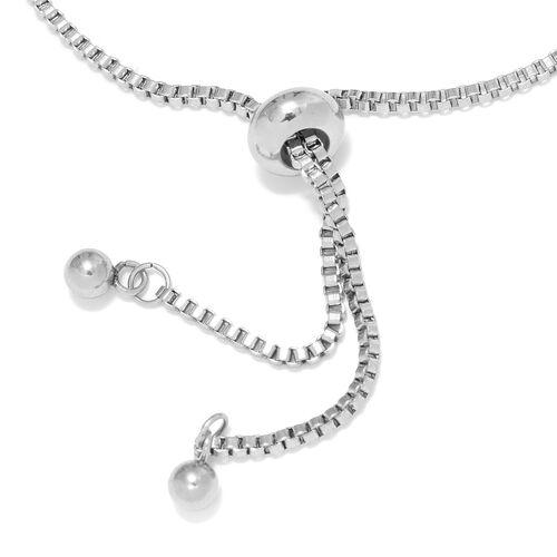 Boi Ploi Black Spinel (Ovl 2.75 Ct) Bolo Bracelet (Size 6.5 - 9.5 Adjustable) in Silver Plated 2.750 Ct.