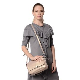 HONG KONG CLOSE OUT DEAL- 100% Genuine Leather Beige Metallic Colour Crossbody Bag with Removable Sh