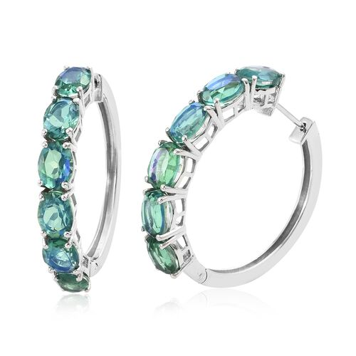 Peacock Quartz (Ovl) Hoop Earrings (with Clasp Lock) in Platinum Overlay Sterling Silver 17.000 Ct.