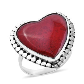 Royal Bali Sponge Coral Solitaire Heart Ring in Sterling Silver