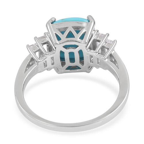 Arizona Sleeping Beauty Turquoise (Cush 4.25 Ct), White Topaz Ring in Rhodium Plated Sterling Silver 5.110 Ct.