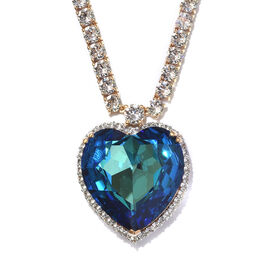 J Francis -Crystal from Swarovski Bermuda Blue Crystal (Hrt 28 mm), White Crystal Necklace (Size 18)