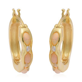 Ethiopian Welo Opal and Natural Cambodian Zircon Earrings in Yellow  Gold Overlay Sterling Silver 1.
