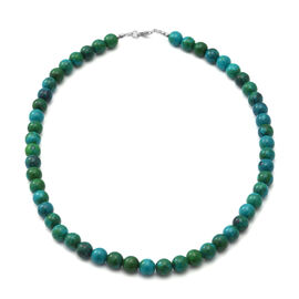 Chrysocolla Beaded Necklace (Size 18) in Sterling Silver - 150 Carats