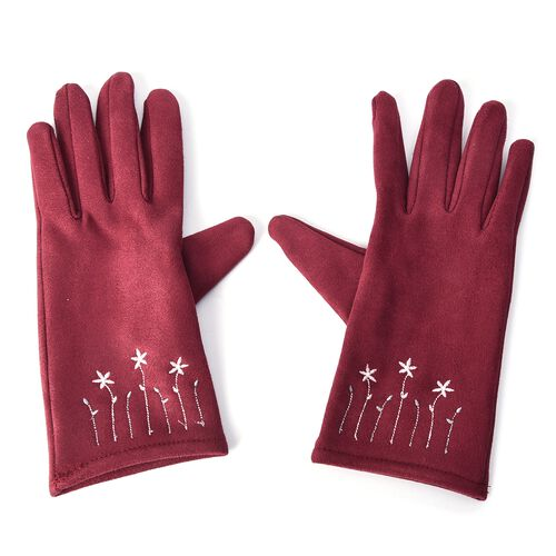 Solid Colour Women Winter Gloves with Star Embroidery on the Wrist (Size 8.9x22.9 Cm) - Wine