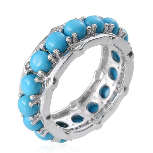 Arizona Sleeping Beauty Turquoise (Rnd) Full Eternity Ring in Platinum Overlay Sterling Silver 5.500 Ct.