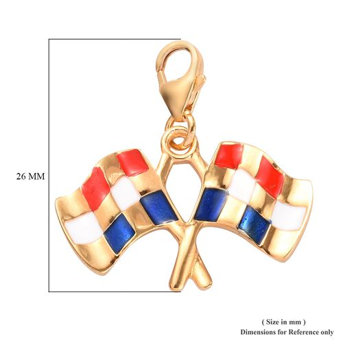 Charms De Memoire - 14K Gold Overlay Sterling Silver Enamelled Checkered Flag Charm