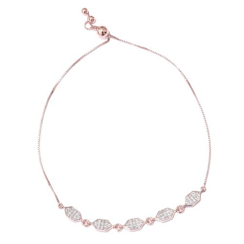 Diamond (Rnd) Adjustable Hexagon Linked Bracelet (Size 6.5 to 8) in Rose Gold Overlay Sterling Silver 0.250 Ct.