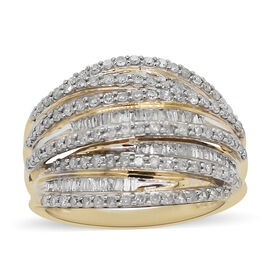 14K Yellow Gold Diamond (I3/H) Cluster Ring 1.01 Ct, Gold wt 6.55 Gms