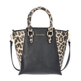 Sencillez 100% Genuine Leather Leopard Printed Handbag with Detachable Shoulder Strap (Size 23x11.5x26cm) - Black