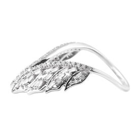 0.50 Ct Diamond Leaf Ring in Platinum Plaetd Sterling Silver