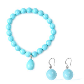 2 Piece Set - Turquoise Shell Pearl (Pear 15x12mm) Stretchable Charm Bracelet (Size 7) and Drop Hook