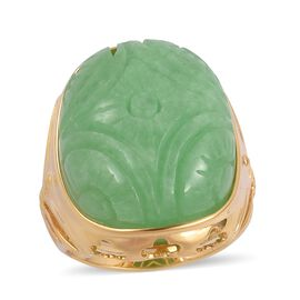 Chinese Green Jade (49.00 Ct) Sterling Silver Ring  49.000  Ct.