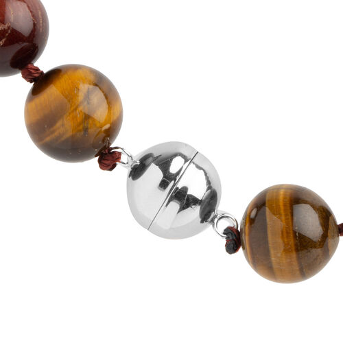 Tiger Eye (Rnd) Beads Necklace (Size 18) in Rhodium Overlay Sterling Silver 569.000 Ct