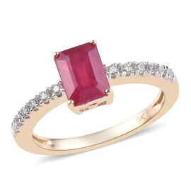 9K Yellow Gold AAA African Ruby (Oct 7x5mm), Natural Cambodian Zircon  Ring 1.75 Ct.