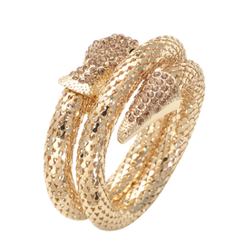 Champage Austrian Crystal and Simulated Black Spinel Snake Bracelet (Size -7) in Gold Tone