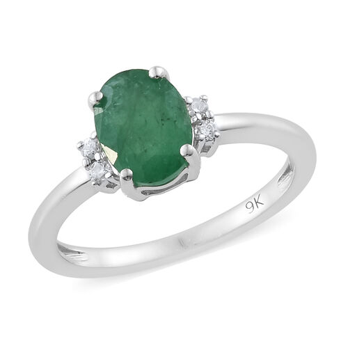 9K White Gold AA Kagem Zambian Emerald (Ovl) Diamond Ring 1.100 Ct.