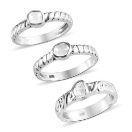 Artisan Crafted - 3 Pcs Set  Polki Diamond Ring in Sterling Silver 0.33 Ct, Silver wt. 6.60 Gms