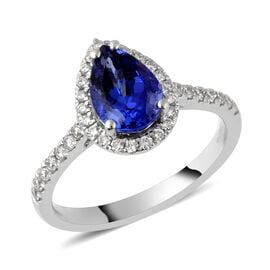 RHAPSODY 950 Platinum AAAA Tanzanite and Diamond Ring 2.01 Ct, Platinum wt. 5.51 Gms